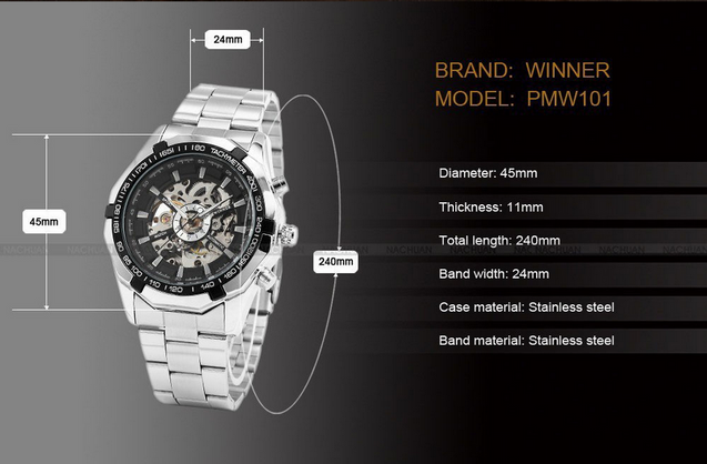 Winner Power Black Dial Luxury Mechanical Watch for Men! (Without Battery for Life!)
