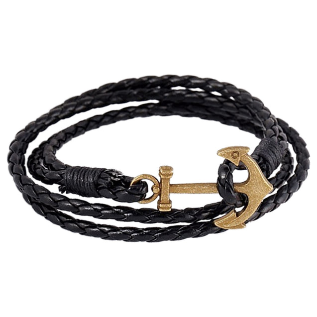 Addic Ship Anchor Vintage Bronze Leather Bracelet