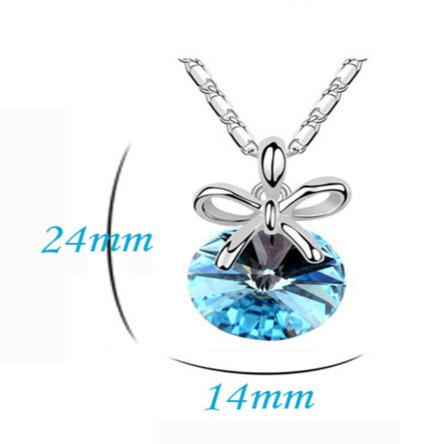 Addic Blue Austrian Crystal Pendant Valentine Gift for Girls and Women.
