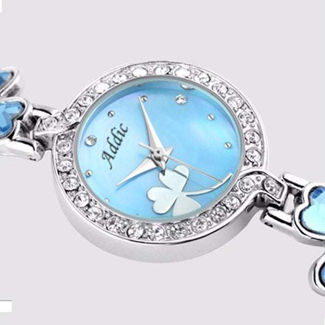Addic Delicate Petals Blue Stone Studded Girls & Women's Watch