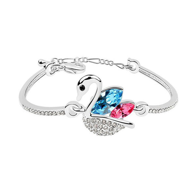 Addic White Gold Platted Blue Austrian Crystals Swan Bangle Bracelet for Women and Girls.