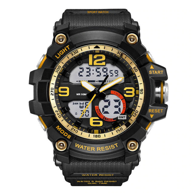 Digilog Gold Power Multi-Function Analog Digital Dual Time Watch for Men & Boys