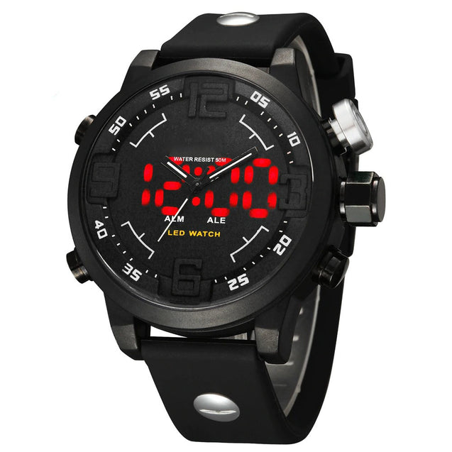 Wrath Bold Statement Red LED Silver Highlight Big Dial Analog & Digital Multi Function Watch For Men