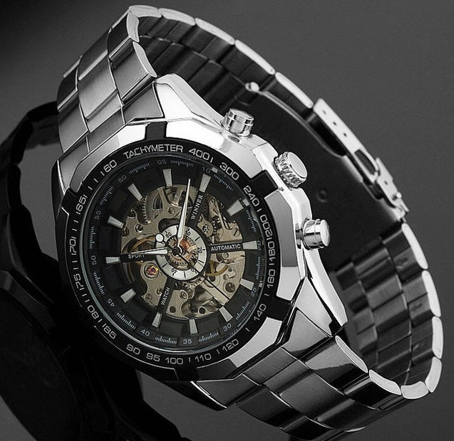 Winner Power Black Dial Luxury Mechanical Watch for Men- Without Battery for Life! (Retro Hand-Winding)