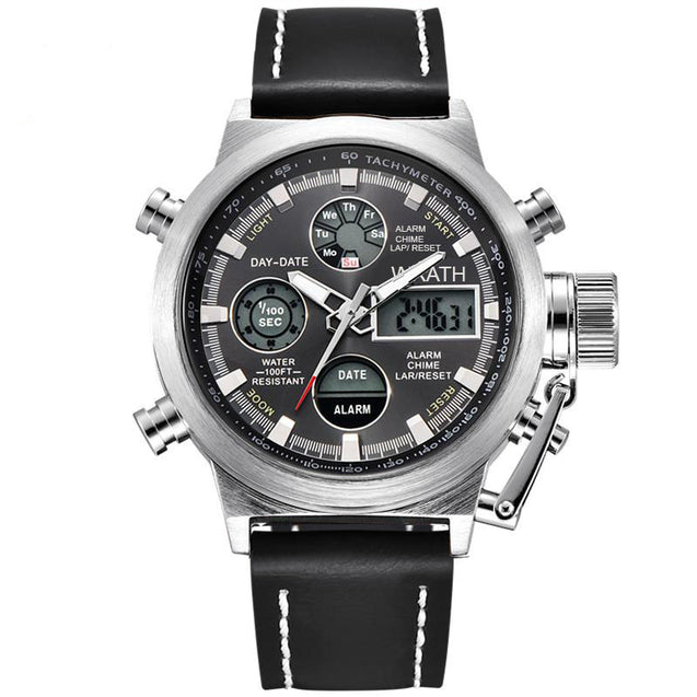 Wrath Legends of Luxury Black & Silver Analog-Digital Classy Multi-Function Watch For Men