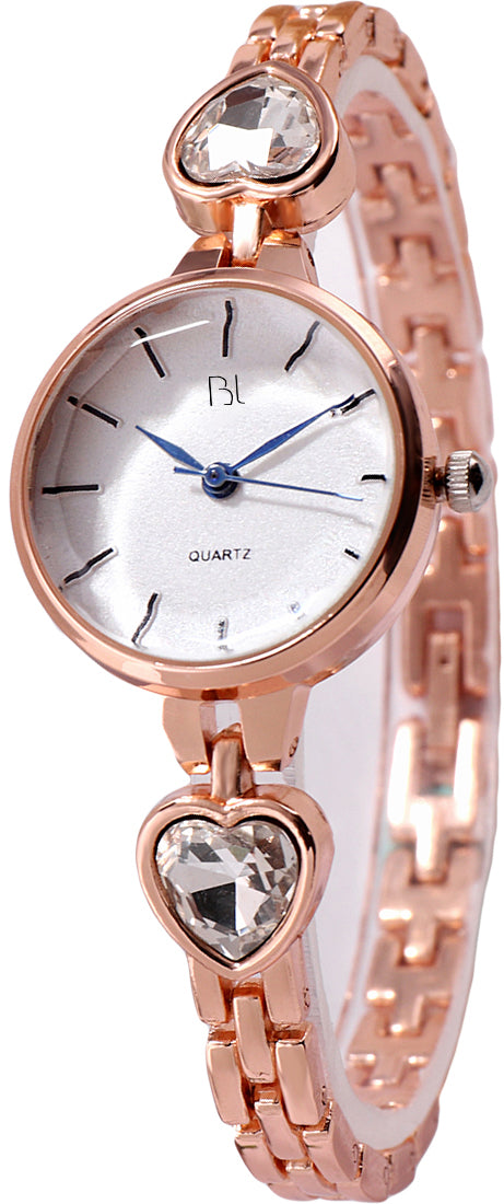 Addic BL Crystal Clear Rose Gold Watch for Women & Girls.