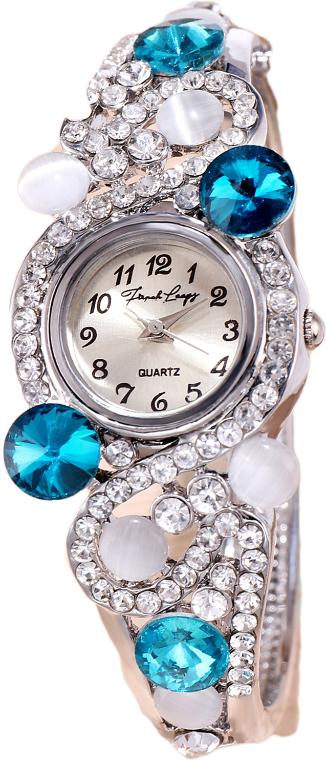 French Loops Gracefully Yours Blue Stone Studded Silver Ethnic Party Wear Bracelet Watch