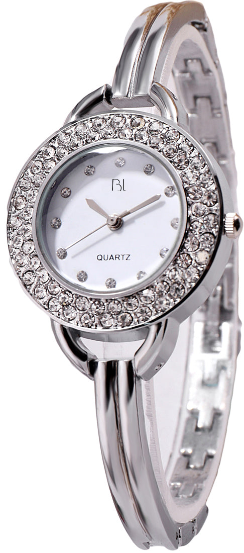 Addic BL Twinkle Stars Studded Silver Watch for Women & Girls.
