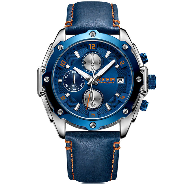 Megir Officer's Modern Blue Luxury Chronometer Watch with Free Bracelet for Men & Boys (ML2074GBE).