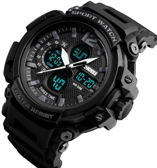 Digilog Four Display Multi Function Dual Time Analog-Digital Wrist Watch For Men & Boys