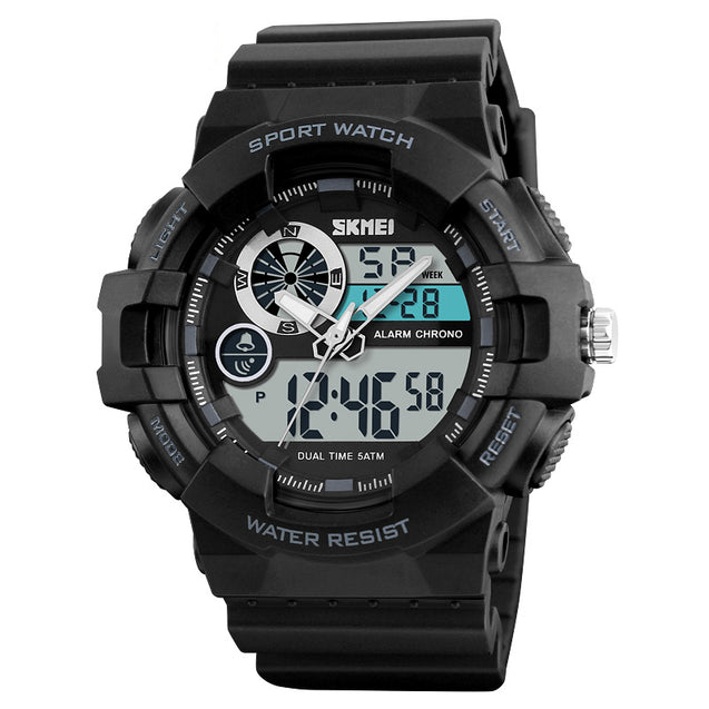 Skmei Multifunction Black Dial Analog Digital Sports Watch With Free Bracelet For Men's & Boys.