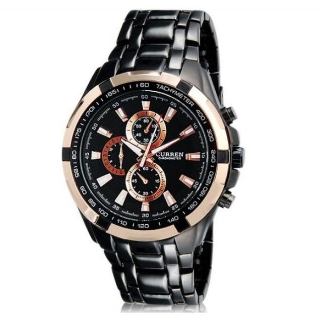 Curren Solid Alloy Black Chain Analog Watch - For Men