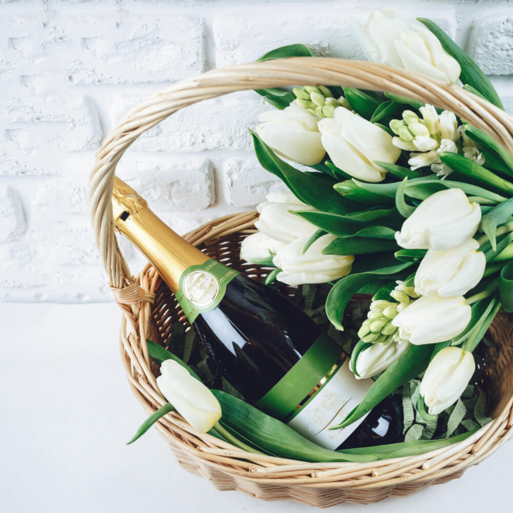 healthy champagne gift baskets