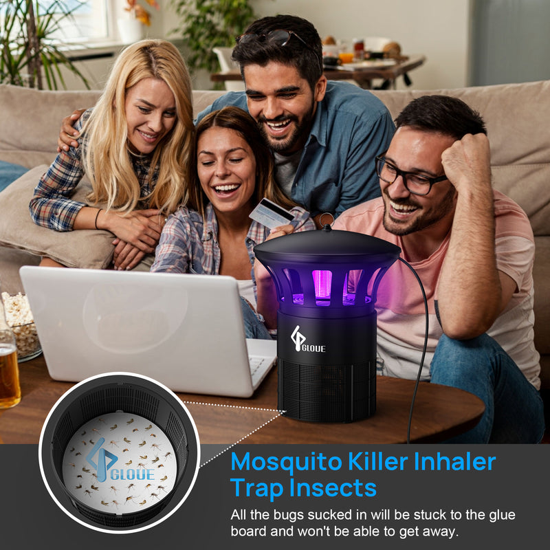 GLOUE Bug Zapper Indoor, Mosquito Killer Inhaler with Super Quiet Insects Traps Bugs Fruit Fly Gnat Mosquito Killer, UV Light Inhaler Lamp, Suitable for Indoor Residential & Office (6 PACK Sticky Glue Boards)