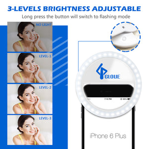 Selfie Ring Light, [4 Packs] GLOUE Portable Clip on Ring Light for iPhone Samsung LG Laptop Computer Android with Rechargeable Battery & 36 LED Lights