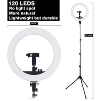 18 Inch Ring Light LED Ringlight Kit with Tripod Dimmable 3000-6000K w/ Smartphone Holder for Live Streaming YouTube Vlog Video Shooting Camera Photography Makeup Selfie