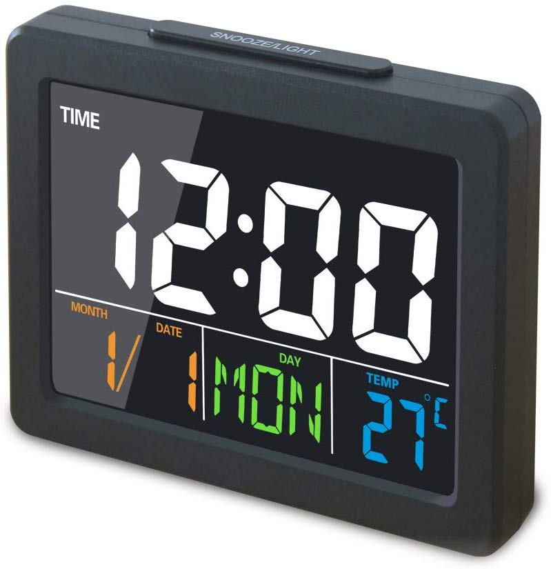 GLOUE Digital Alarm Clock with USB Port for Charging Snooze Function, Timer, Sound Control Function, 12/24Hr, World time Pattern, Month Date & Temperature Display - Black, 8 Alarm Rings