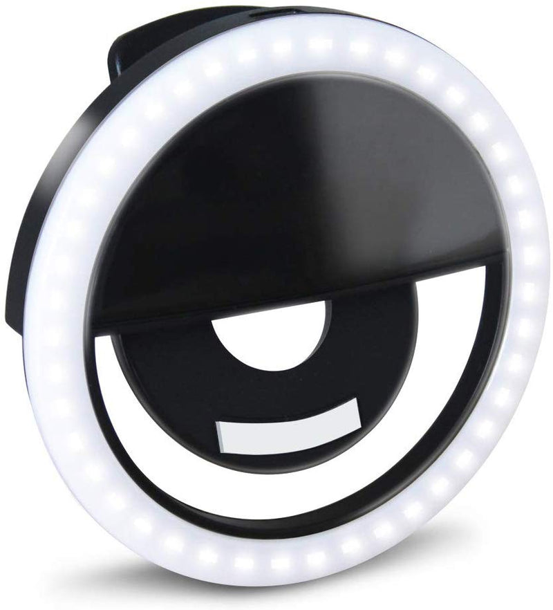 GLOUE Selfie Light Ring Led Circle Clip-on Selfie Fill Light with 36 Led Bubbles USB Rechargeable Portable for iPhone, Smart Phones, Pads, Makeup Mirrors (Black, 1 Pack)