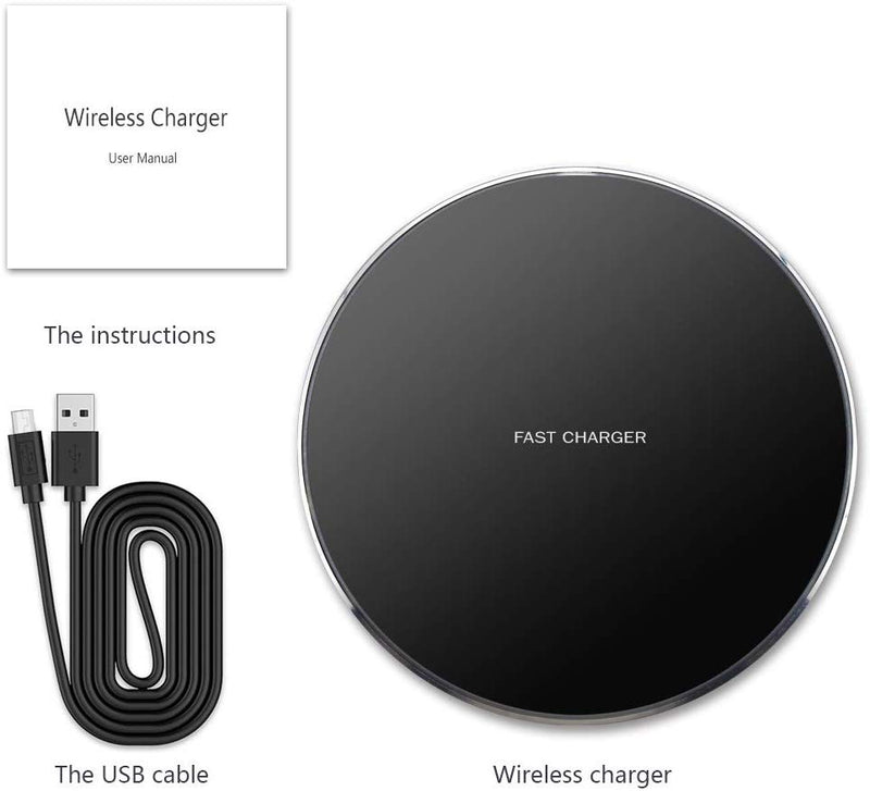 GLOUE Wireless Charger, 10W Qi Wireless Charging Compatible with iPhone 11/11Pro/11Pro Max/Xs Max/XS/XR/X/8 Plus, Compatible with Galaxy S9/S9+/S8/S8+, 5W for All Qi-Enabled Phones (Black)