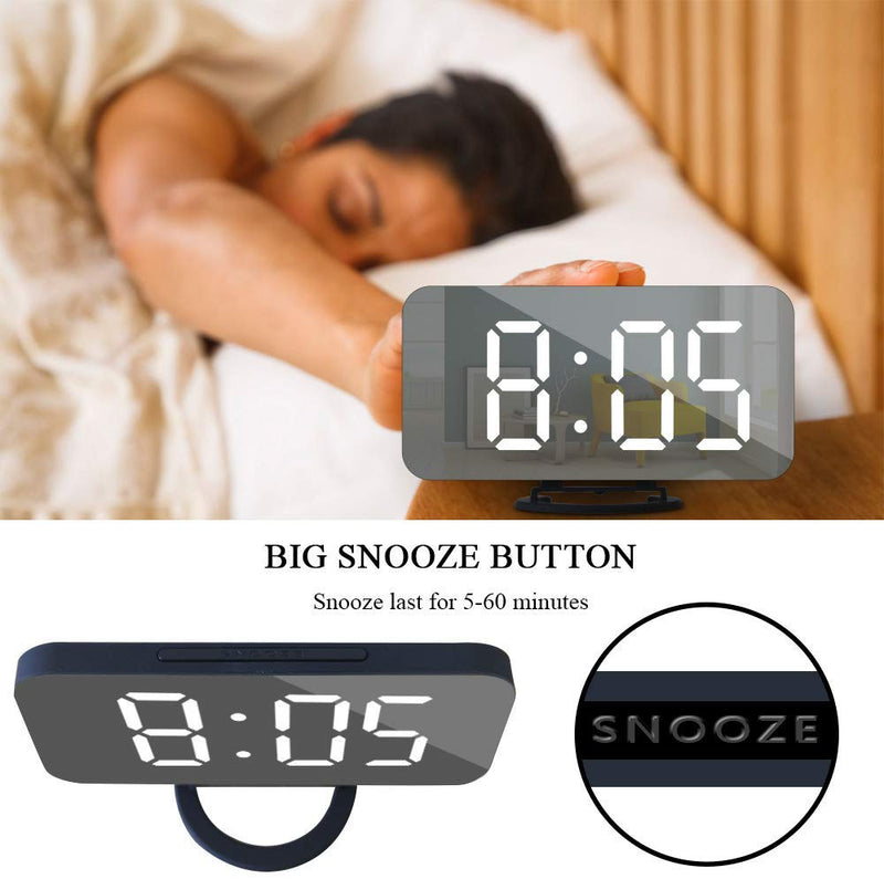 GLOUE Alarm Clock with USB Charger, Digital Alarm Clocks for Bedrooms, Large Mirror Surface, Easy Snooze Function, Dimming Mode, Auto/Manual Adjustable Brightness, Office Bedside Alarm Clocks