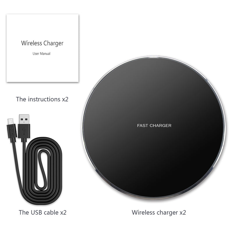GLOUE Wireless Charger 10W Qi Wireless Charging Compatible with iPhone 11/11Pro/11Pro Max/Xs Max/XS/XR/X/8 Plus, Compatible with Galaxy S9/S9+/S8/S8+, 5W for All Qi-Enabled Phones-2 Pack