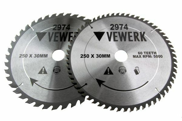 2x VEWERK TCT Circular Wood Saw Blades 250 X 30MM Festool TS55, Makita 2974 - SBW Trading Limited