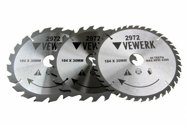 3x VEWERK TCT Circular Wood Saw Blades 184 X 30MM Festool TS55, Makita 2972 - SBW Trading Limited