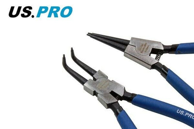 "US PRO Tools 4 Piece 7"" Circlip Pliers Set - Internal External Bent & Straight - SBW Trading Limited"