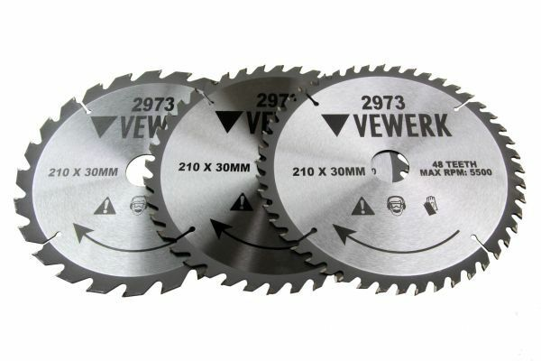 3x VEWERK TCT Circular Wood Saw Blades 210 X 30MM Festool TS55, Makita 2973 - SBW Trading Limited