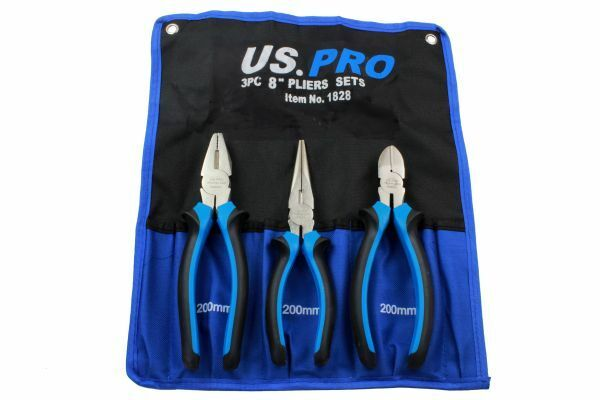 US PRO 3pc 8 Plier Set NI-FE Finish - Combination, Cutters, Long Nose - SBW Trading Limited