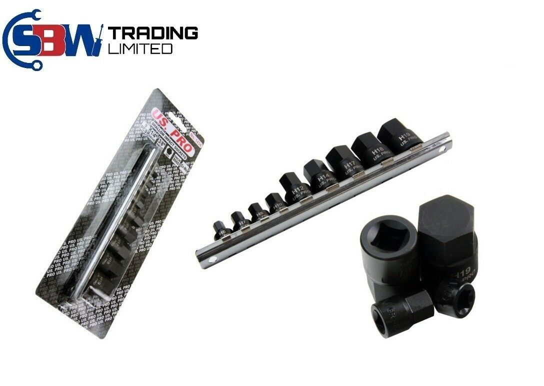 US PRO TOOLS 9PC STUBBY IMPACT HEX BIT SOCKET SET 10/19mm short allen key 1434 - SBW Trading Limited