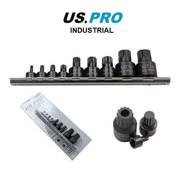 "US PRO INDUSTRIAL 9pc 1/4""-3/8""-1/2"" dr Stubby Impact  Triple Square Spline Bit Sockets"