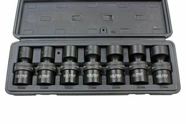 "US PRO INDUSTRIAL 7pc 1/2"" dr 6pt Swivel Impact Shallow Sockets"