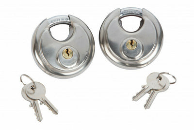 2x Keyed Alike Heavy Duty Disc Padlocks 70mm - SBW Trading Limited
