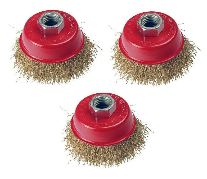 3pc 65mm Rotary Brass Steel Wire Brush Cup Set wheel Angle Grinder 2126 - SBW Trading Limited