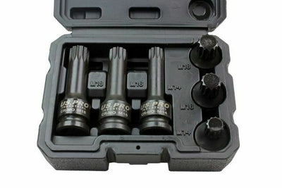 "US PRO INDUSTRIAL 6PC 1/2"" Dr Impact Spline Bit Sockets - SBW Trading Limited"