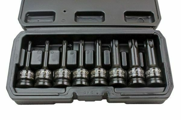 "US PRO INDUSTRIAL 8pc 1/2"" Dr Long Impact Torx Bits Socket Set 3315 - SBW Trading Limited"