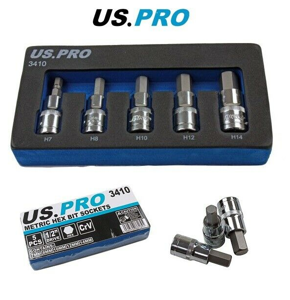 "US PRO Tools 5PC 1/2"" DR Metric Hex Bit Sockets 7 - 14mm 3410 - SBW Trading Limited"