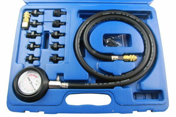 US PRO TOOLS 12pc ENGINE OIL PRESSURE TESTER Dual Scale Gauge Bar & PSI 5388 - SBW Trading Limited