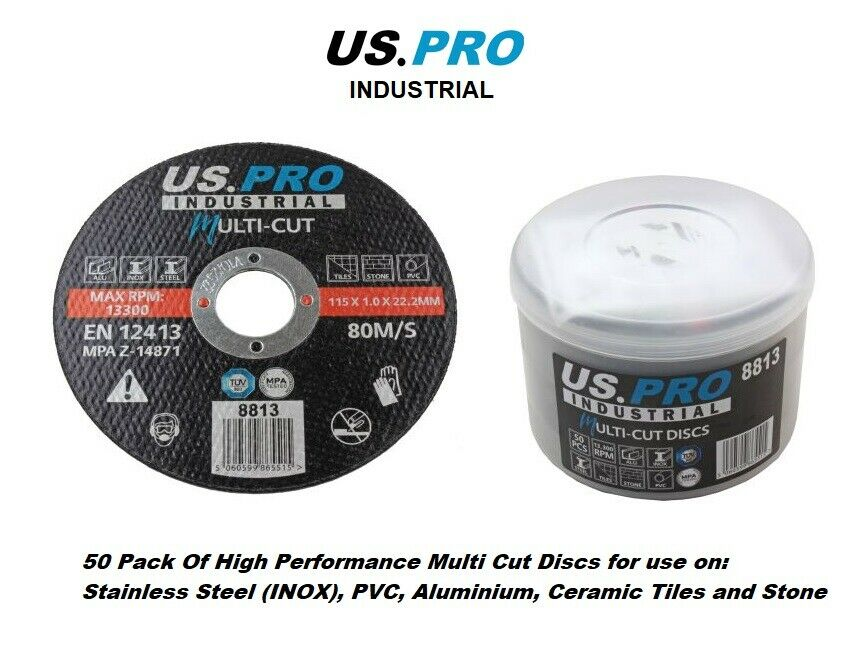 US PRO INDUSTRIAL High Performance Multi Cut Discs 115mm x 1.0mm x 22.2mm 50PK