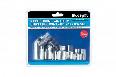 Bluespot 7pc Socket Adaptor & Universal Joint Set 1/4 3/8 1/2 Drive 02076 - SBW Trading Limited