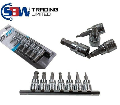 US PRO Tools 7pc 3/8 dr Ball End Hex / Allen Bit Sockets, Rail Sockets Set 2220 - SBW Trading Limited