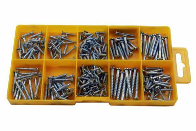 Resolut 215 Piece Assorted Woodscrews - CSK Pozi & Round Head 2899 - SBW Trading Limited