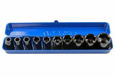 US PRO 10PC 1/2 DR Shallow Impact Metric Socket Set 9 - 27mm 1396 - SBW Trading Limited