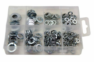 Resolut 210 Piece Assorted Spring & Flat Steel Washers 2952 - SBW Trading Limited