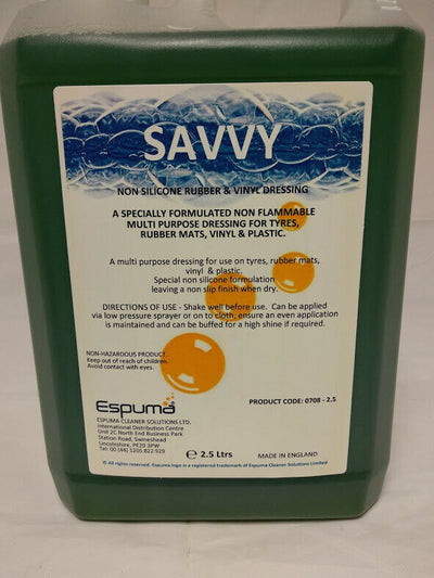 Tyre Shine Rubber & Vinyl Dressing Espuma Savvy Non Silicone - SBW Trading Limited