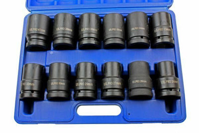 US PRO 12pc 1 dr DEEP IMPACT SOCKETS 24-41mm 6 point one inch Socket Set B2096 - SBW Trading Limited