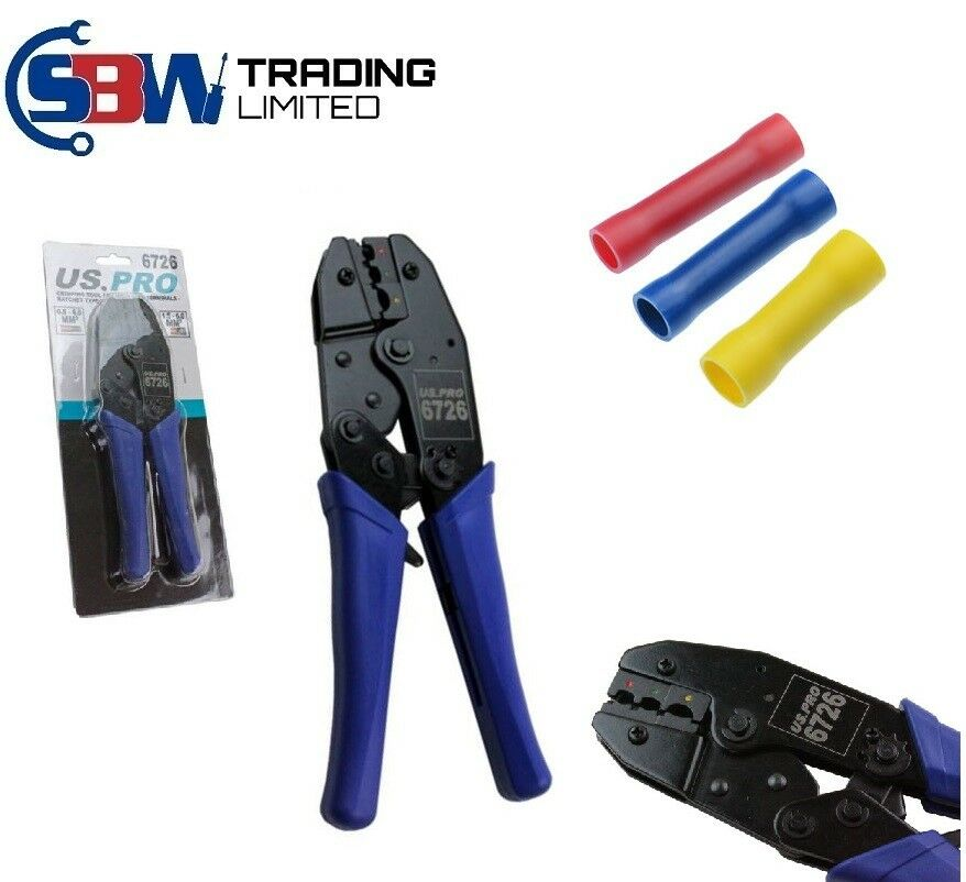 US Pro Electrical Ratchet Crimping Tool Pliers For Insulated Terminals 0.5mm - 6mm 6726 - SBW Trading Limited