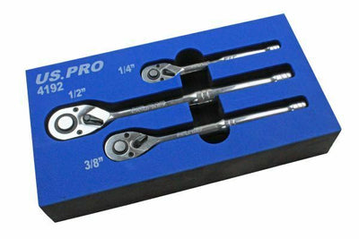 "US PRO 3pc RATCHET SET 1/4"" 3/8"" 1/2"" Drive - SBW Trading Limited"