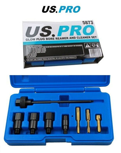 US PRO Tools 9 Piece Glow Plug Bore Reamer And Cleaner Set 5873 - SBW Trading Limited